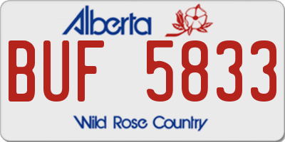 AB license plate BUF5833