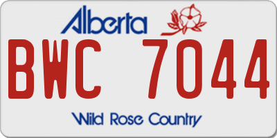 AB license plate BWC7044