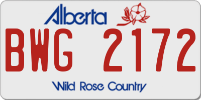 AB license plate BWG2172