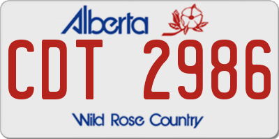 AB license plate CDT2986