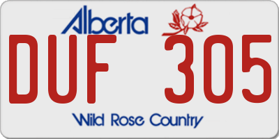 AB license plate DUF305