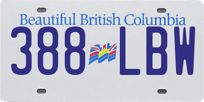 BC license plate 388LBW