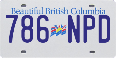 BC license plate 786NPD