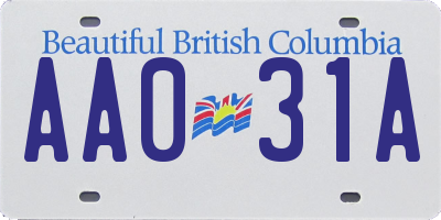 BC license plate AA031A