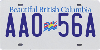 BC license plate AA056A