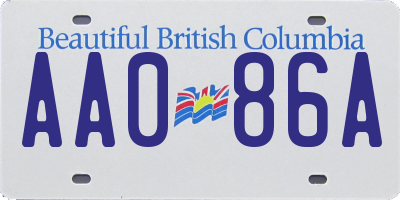 BC license plate AA086A