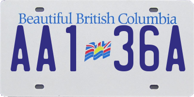 BC license plate AA136A