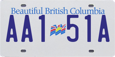 BC license plate AA151A