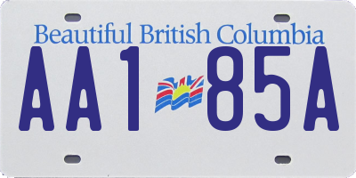 BC license plate AA185A