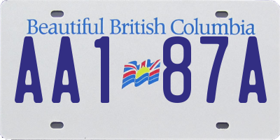 BC license plate AA187A