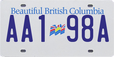BC license plate AA198A