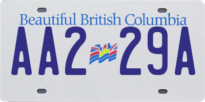 BC license plate AA229A