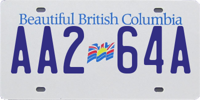 BC license plate AA264A