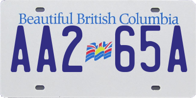 BC license plate AA265A