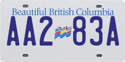 BC license plate AA283A