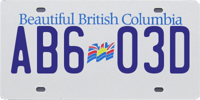 BC license plate AB603D