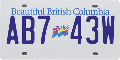 BC license plate AB743W