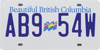 BC license plate AB954W