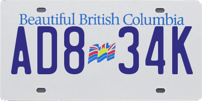 BC license plate AD834K