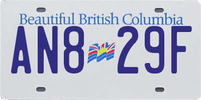 BC license plate AN829F