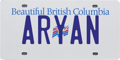 BC license plate ARYAN