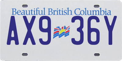 BC license plate AX936Y