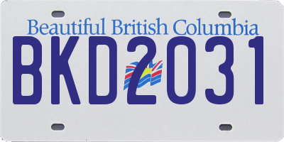 BC license plate BKD2031