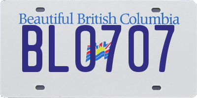 BC license plate BL0707