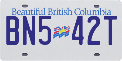 BC license plate BN542T
