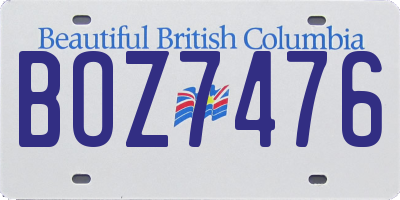 BC license plate BOZ7476