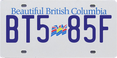 BC license plate BT585F