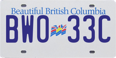 BC license plate BW033C