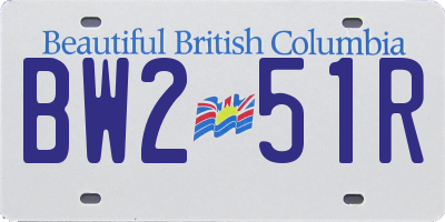BC license plate BW251R