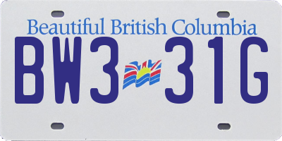BC license plate BW331G