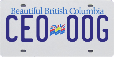 BC license plate CE000G