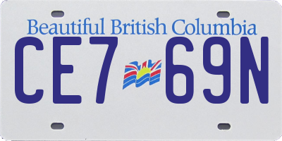 BC license plate CE769N