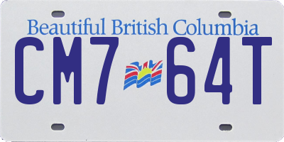 BC license plate CM764T