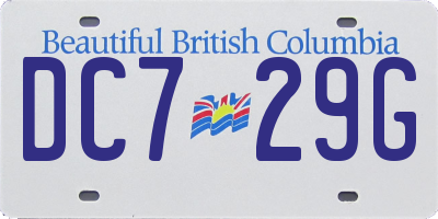 BC license plate DC729G