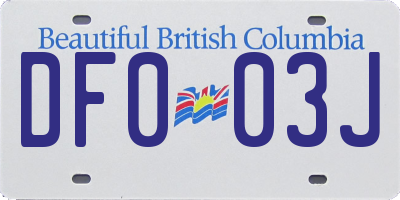 BC license plate DF003J