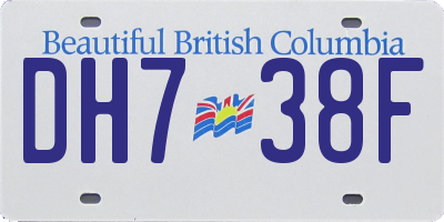 BC license plate DH738F