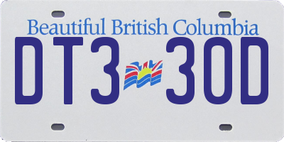 BC license plate DT330D