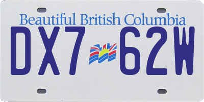 BC license plate DX762W