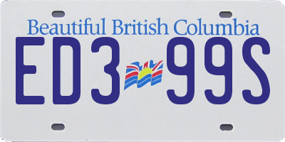 BC license plate ED399S
