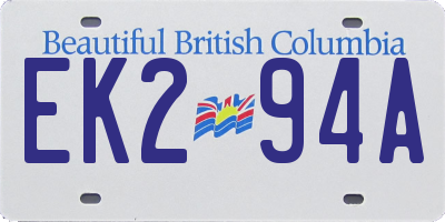 BC license plate EK294A