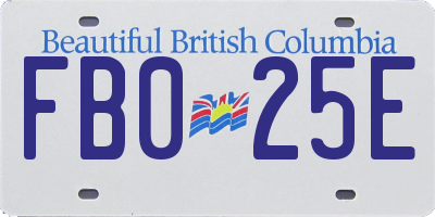 BC license plate FB025E