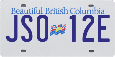 BC license plate JS012E