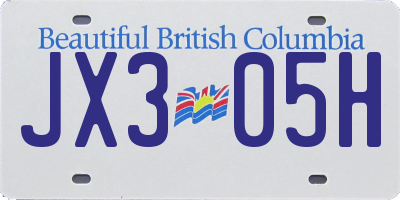 BC license plate JX305H