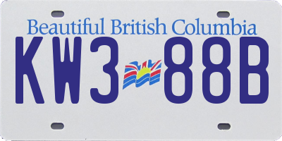 BC license plate KW388B