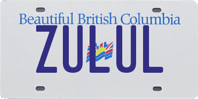 BC license plate ZULUL