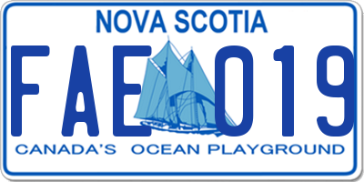 NS license plate FAE019